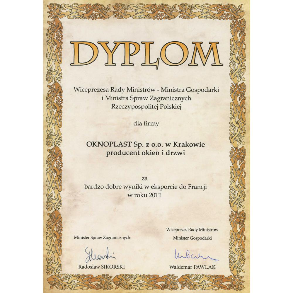 Diplom fra Viseministerpresidenten - Økonomi- og Utenriksministeren i Republikken Polen