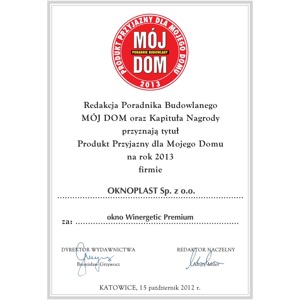 Mest hjemmevennlig produkt 2013 for vinduet Winergetic Premium