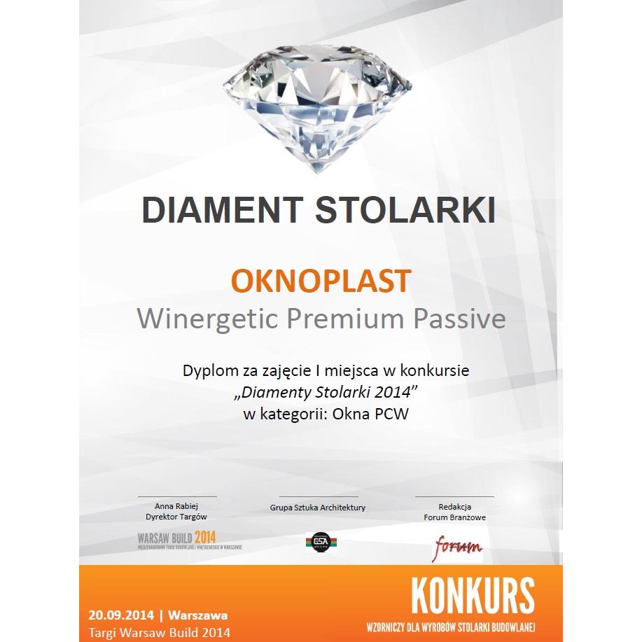 Diamantvinduer og -dører 2014 for vinduet Winergetic Premium Passive